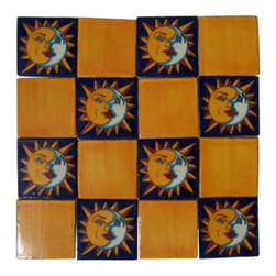 "Casa Daya Tile - 16 Hand Painted Made to Order Sun and Moon Talavera Tile Set - Set of sixteen 4"" x 4"" tiles for your craft or construction project."