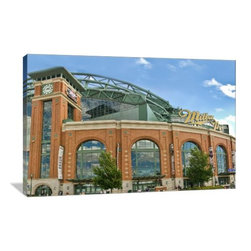 """Artsy Canvas - Miller Park Outside, Home Of The Brewers Gallery Wrapped Canvas, 24x16 - Miller Park Outside, Home of the Brewers.  Bedwards beautifully represented on 24"""" x 16"""" high-quality, gallery wrapped canvas wall art"""