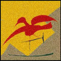 Home Infatuation - Balance Design Outdoor Doormat - A striking red bird flies across a golden sky in this colorful doormat inspired by David Milliken's original artwork. You'll love its functionality, as well as its beauty, thanks to the sturdy nylon construction and rubber backing. Cleaning it as easy as hosing it down or popping it in the washing machine.