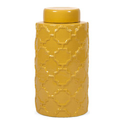 Imax - Traditional Essentials Mellow Yellow Large Canister Home Decor - With it's bright color and embossed quatrefoil pattern, this large lidded Ceramic canister is both a fun and functional part of the Mellow Yellow collection from Essentials by Connie Post. Color is Yellow. Material is 95% terracotta; 5% paint.