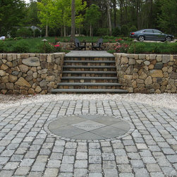 Past works - Field Stone retaining wall & steps.  Cobble stone parking pad with blue stone inlay.