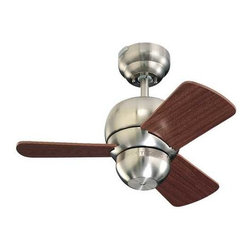 """Monte Carlo Fans - Compact 24-Inch Ceiling Fan with Three Blades - 3TF24BS - This small, compact ceiling fan is perfect for creating airflow in those small bedrooms, bathrooms, and hallways. There are two ways to hang this fan; with the downrod or by hugger flushmount style. The hanging height by downrod is 13-1/4""""-inches. The hanging height by flushmount is 10-inches which is a great choice for applications where a low-profile ceiling fan is needed. The blade pitch is 14�. Light kits are available. Takes (1) 23-watt Compact Fluorescent spiral bulb(s). Bulb(s) sold separately. Dry location rated."""