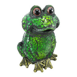 Crackle Glass Green Frog Accent Table Bullfrog - This incredibly cute green frog accent lamp has bronze finished cold cast resin feet, hand-painted eyes, and a green crackle glass body that emits a soothing soft light when the lamp is turned on. The lamp is 6 inches tall, 4 1/2 inches across and 4 1/2 inches deep, making it a perfect accent for end tables and nightstands. It takes one nightlight style bulb (included). It comes with a 5 foot light cord, containing the on/off switch. The lamp is brand new, never used or displayed. It`s a perfect gift for any frog lover.