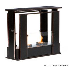 Holly & Martin - Walton Portable Indoor/Outdoor Gel Fireplace - Enliven any space with this portable metal gel fuel fireplace. This unique design sits conveniently on a patio, floor, or table for instant relaxation. Finished with a painted black finish with copper edges, this fireplace will hold up to 2 cans of gel fuel providing a rich fiery glow perfect for relaxation. Each can lasts up to 3 hours on a single burn and puts off up to 3,000 BTU's. Gel fuel must be purchased separately. This portable fireplace also makes a convenient and unique space for burning and displaying candles simply by placing the included snuffer cover on top of the gel fuel can openings.