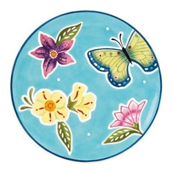 Fitz and Floyd 29-525 Courtyard Accent Salad Plate - Set of 4 - The Fitz and Floyd 29-525 Courtyard Accent Salad Plate - Set of 4 is the perfect way to top off your dining set. Colorful butterflies and flowers add a vibrant look to your table. The stoneware design is both dishwasher- and microwave-safe. Set of four plates.About Fitz and FloydFitz and Floyd is recognized worldwide as a leader amongst the style- and quality-conscious. For 50 years their unique designs have made them the leader in the purveyor of hand-painted ceramic dinnerware, tableware, accessories, giftware, and collectibles. All Fitz and Floyd pieces are easy to spot, distinctively hand-crafted by artisans from the drawing board to the sculpting wheel and kiln. Their Dallas-based studios are renowned for producing over 500 unique designs per year. Creations ranging from Presidential dinnerware for the White House, a tea service for Her Majesty Queen Elizabeth II, to the perfect centerpiece for your table, each design is lovingly crafted in the highest quality. Meticulous craftsmanship and exquisite detail make every Fitz and Floyd piece a treasured heirloom-quality gift.