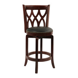 "Boraam - Boraam Cathedral 24"" Swivel Counter Stool in Dark Cherry - Boraam - Bar Stools - 40324"