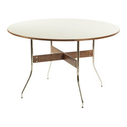 Stilnovo Pertola Dining Table with Swag Legs - The Round Pertola dining table has a large white melamine surface applied upon MDF that is supported by a walnut base with stainless steel swag legs.