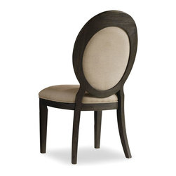 """Hooker Furniture - Hooker Furniture Corsica Oval Back Side Chair - Set of 2 - Like the Mediterranean island for which it is named, Corsica is a melting pot of timeless design influences with a sun washed ambience and casual attitude. Gracefully shaped architectural forms of Italian, French and Belgian origin are accentuated by a wire brushed artisan finish with a reclaimed character. Fabric seat and back. Acacia Solids and Veneers. Dimensions: 21""""W x 24.5""""D x 40.5""""H."""