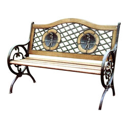 Oakland Living - Oakland Living Twin Golfer Bench with Round Legs in Antique Bronze - Oakland Living - Outdoor Benches - 6066AB - About this product: