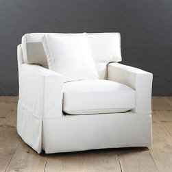 Ballard Designs - Graham Swivel Chair Slipcover and Frame - Custom fitted slipcovers prevent shifting and bunching. Strong, over-locking seams won't gap. Velcro strips let you adjust fit from loose to tailored. Slipcovers remove easily for cleaning or a fresh change of seasonal color. Made in the USA. With its tailored track arms and clean lines, our Graham Swivel Chair has a look you never tire of coming home to. Swivel mechanism allows chair to turn from side to side. Artisan crafted hardwood frame is made in the USA with mortise and tenon joints, corner blocked and double-doweled, screwed and glued for strength. Supportive foam core cushions are wrapped in soft poly-fiber and encased in luxurious down blend. Patented spring system assures years of comfortable wear. Graham Special Order Slipcovers are custom made in your choice of any of our Designer Fabrics or you can send us your own material. Graham Slipcovers are designed exclusively to fit our Graham seating and are required when ordering a Graham frame (sold separately). Graham Swivel Chair Slipcover features:. . . . .