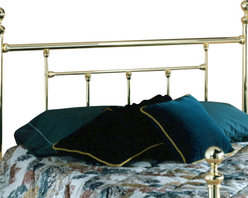 Hillsdale Furniture - Hillsdale Chelsea Sleigh Headboard with Rails - King - A traditionally designed sleigh bed featuring classic turn of the century styling featuring a soft antique brass finish.