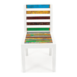 EcoChic Lifestyles - Even Keel Reclaimed Wood Dining Chair - Cheerful color from the hulls of fishing boats combines with fresh white to make the Even Keel Garden Chair. A fetching addition to your high-rise balcony or graveled patio. The simple lines of solid reclaimed wood give you sturdy seating, morning, noon, and night.