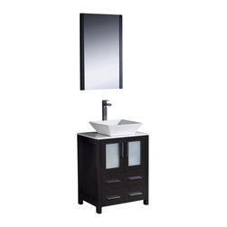 "Fresca - Fresca Torino 24"" Modern Bathroom Vanity w/ Vessel Sink - Espresso - Fresca is pleased to usher in a new age of customization with the introduction of its Torino line. The frosted glass panels of the doors balance out the sleek and modern lines of Torino, making it fit perfectly in either Town or Country dcor."