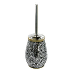 Gedy - Round Grey-Silver Toilet Brush Holder - Round decorated grey/silver glass toilet brush holder with polished chrome brush.