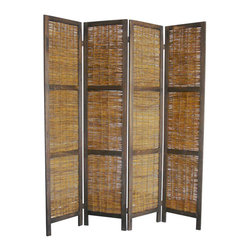 Proman - Proman Bankok Folding Screen with Willow Decoration - Bankok Folding Screen with Willow Decoration. This 4 panel screen is handcrafted with willow decoration and can be used, in any room of the home or office. Frame constructed with Paulownia wood and 4 panels with rattan style willow decoration. Double hinges for flexibility of bending panels, in either direction. Rich country style. Fully assembled.