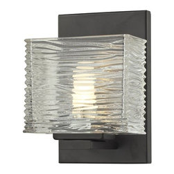 Z-Lite - Z-Lite 3026-1V Jaol 1 Light ADA Compliant Bathroom Sconce - Rectangular glass shades with horizontal textured lines soften the bright light of the Jaol vanity family. The flat arm design exudes a contemporary design finished in finely brushed nickel, rich bronze and highly polished chrome.Specifications: