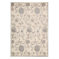 """Nourison - Nourison Graphic Illusions Floral Ivory 3'6"""" x 5'6"""" Rug by RugLots - Striking, bold patterns define this alluring collection of tantalizing rugs. Featuring an exciting hand-carved, high-low texture and contemporary color palette, these attractive area rugs will add a distinctive flair to any setting. Indulge the senses and make a bold statement with these durable and captivating creations for the floor."""