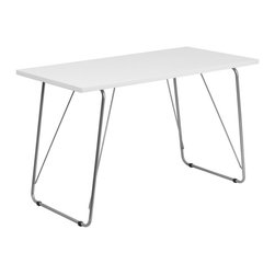 Flash Furniture - Flash Furniture Computer Desk with Silver Frame in White - Flash Furniture - Computer Desks - NANJN2956WHGG - This spacious Computer Desk has a simple design when needing a desk for writing reading homework and laptop usage. This sleek computer table can match almost any room.