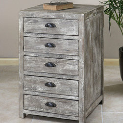 Cranston Document Chest - A document holder that also holds distinctive beauty. A sturdy cabinet with a stonewashed patina over fir wood, the Cranston Document Chest imparts rustic refinement to your personal library, study, or home office. Well-designed gliders and stoppers in each drawer allow easy access to contents, while oil-rubbed bronze bin pulls complement the gently aged aesthetic of the piece.