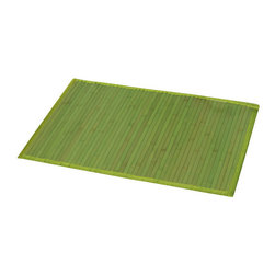 Bamboo Mat Anti Slippery Green - This bamboo mat is made of bamboo slats with a fabric lining. Modern, stylish and comfortable to your feet, this beautiful bath rug brings a note of natural beauty to your bathroom decor. It prevents slips with its PVC non-skid backing. Hand wash and no dryer. Indoor use only and for use outside of the tub only. Width 20-Inch and length 31.5-Inch. Color green. Add a stunning look and a perfect finishing touch to your bathroom decor with this trendy bamboo mat! Complete your decoration with other products of the same collection. Imported.