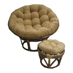 International Caravan - 43 in. Rattan Papasan Chair & Footstool Set in Beige (MicroSuede Chocolate) - Color: MicroSuede Chocolate. Comes with base, frame and a cushion. Cushions are made of environmentally friendly poly fill and are custom made. Frame: 43 in. Dia.. Footstool: 18 in. Dia. x 12 in. H