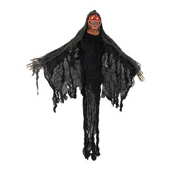n/a - Flying Demon Ghoul with Light Up Eyes and Sound - This flying demon ghoul is an essential addition to your creepy Halloween decor, and it is sure to scare trick-or-treaters. The ghoul is sound activated and starts screeching and cackling with its red eyes flashing in the darkness. Its `body` is made of strips of gauze and it has posable arms and a resin head. Hang it from the loop on top of the head, or string it up by the back and the head with arms outstretched for the flying effect. The ghoul measures 36 inches from the top of the head to the bottom of the gauze strips. It runs on 2 AA batteries (included) that are replaceable, so you can enjoy startling those little candy beggars year after year.