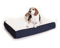 MAJESTIC PET PRODUCTS - Orthopedic Double Pet Bed - If your pooch needs a little extra support when he rests or naps, this bed, made with orthopedic grade thick convoluted foam, allows for proper circulation when resting and gently supports your dog's body. Soft faux sheepskin covers the top, letting your dog cuddle up and snooze. Attractive poly-cotton blend fabric covers the sides, and the bottom is waterproof for your convenience.