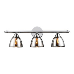 Chrome Translucent Glass Vanity Light - 3 Light