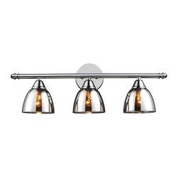 Chrome Translucent Glass Vanity Light - 3 Light -