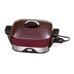 "Presto - Folding Ceramic Skillet 12"" - Great for every meal-big 12"" base and high sidewalls provide extra cooking and serving capaciy. Tempered glass cover and stay cool handle allow skillet to double as a buffet server. Control Master heat control maintains the desired cooking temperature automatically. Heavy cast sluminum base features a ceramic nonstick surface, inside and out. Skillet pan and cover are fully immersible with the heat control removed. Built-in spout for pouring liquids from skillet doubles as a spoon and patula holder. Fold down handles to detach skillet from base. With handles folded in, the base and handles store in skillet for compact storage."
