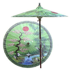"Oriental-Décor - Asian Spring (Meadow Green) - This extraordinary and artistic patio umbrella depicts the migration of Oriental cranes during the spring season. Each season represents a different part of life with spring being synonymous with rebirth. Through rain and shine this umbrella will provide you with years of shelter for you and your family.    - 7 foot umbrella pole constructed of rich stained oak hardwood.  - Each umbrella is entirely handcrafted down to the finest detail.  - Oil-treated cotton umbrella shades are all hand-painted by our master artists.  - Dual position shade height allows for full coverage or a better view of the painted shade.  - Waterproof and weatherproof.  - Two-piece pole fastens securely with a polished metal coupling.  - Pole diameter of 1.5"" easily fits into any standard size umbrella base or table.  - Optional umbrella base available - handcrafted from stained oak hardwood."