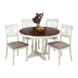 Jofran - Jofran 693-48 Chesterfield Tavern 5-Piece Round Butterfly Leaf Dining Room Set - The Chesterfield Tavern collection will add a country-Chic look to your casual dining space. With eye-Catching details such as fluted legs, beautiful two-toned antiqued tables, detailed scroll and splat back side chairs and a server that boasts plenty of room for your serving essentials this set will add a lot of character to your room. Choose from two table types and two beautiful colors: antique white or antique black.