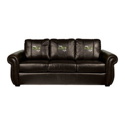 Dreamseat Inc. - US Army Wife Chesapeake Brown Leather Sofa - Check out this Awesome Sofa. It's the ultimate in traditional styled home leather furniture, and it's one of the coolest things we've ever seen. This is unbelievably comfortable - once you're in it, you won't want to get up. Features a zip-in-zip-out logo panel embroidered with 70,000 stitches. Converts from a solid color to custom-logo furniture in seconds - perfect for a shared or multi-purpose room. Root for several teams? Simply swap the panels out when the seasons change. This is a true statement piece that is perfect for your Man Cave, Game Room, basement or garage.