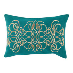 """Surya - Surya LU-003 13"""" x 20"""" Polyester Pillow Kit - Intricate designs intermingle exquisitely to craft an utterly unique pillow that is sure to suit your space. Handmade in India, a series of scroll prints merge magnificently, fashioning a flawlessly abstract geometric design that will make a style statement from room to room within any home decor."""