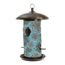 Toland Home and Garden - Blue Marrakesh Bird Feeder - Hanging Art Bird Feeders will add a splash of color to your feathered friends feeding routine. These beautiful bird feeders' outer material is a UV and weather resistant fabric, while the inner lining is made of polypropylene and will help keep the bird seed dry ensuring a steady flow of seed.