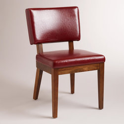 World Market - Red Bonded Sophia Leather Chairs, Set of 2 - Our Red Bonded Leather Sophia Chair captures the chic, subtle lines and solid construction of yesteryear coupled with today's affordable price. Crafted of solid wood with red bonded leather, it adds a clean, vibrant look to any room.