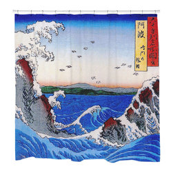 """Sharp Shirter - Wild Sea Breaking on the Rocks Shower Curtain - """"This curtain is printed in USA!. Hooks sold separately. Disclaimer: If you order multiple items, they may ship from separate locations."""""""