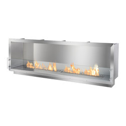 "Ignis Ethanol Fireplace Inserts / Fireboxes FB6200-S - A large, rectangular ethanol firebox, the FB6200-S is a single-sided fireplace insert intended for the most discerning and reserved for those of the highest style. This large ethanol firebox is a smooth way to integrate the mesmerizing element of fire into your new-build or renovation project. Among the best in customized fireplaces, this fire box uses the EB6200, a highly praised ethanol fireplace burner by Ignis Products. Displaying 53"" of elongated flame, this ethanol fireplace insert will turn heads and not only warm the space, but the heart of onlooker as well. Manufactured with grade 304 polished stainless steel, which is a material conducive to withstanding high heat levels and is known for its durability, this ethanol fire box offers double wall construction, using stainless steel that is 3mm wide. Doubling its level of protection, the fireplace insert is insulated with a patented rock wool insulation, making it heat resistant and increasing the level of protection to one only found with Ignis fire boxes. When making this choice zero clearance ethanol fire box, the ease of its function for the end-user and simple installation for the contractor were of high importance for the design department at Ignis. For installation with ease, simply use the surrounding flange to build the firebox into the wall, existing fireplace alcove or custom-made surround. Because this fireplace is fueled by Eco-friendly bio ethanol, there is no need to install a chimney nor a venting system. The FB6200-S Ethanol Fire Box is an ideal application for a large home, hotel, eatery or entertainment venue. Surrounded by the silvery and reflective stainless steel walls, the clean flames gracefully present themselves, eager to please their audience. Each flame mimicked by its reflection, the firebox transforms into a relaxing and pleasing visual experience. This firebox is assembled manually by experts and made using patented technology that is only offered with Ignis Fire Boxes."