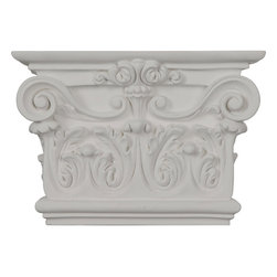 """Ekena Millwork - 10 3/8""""W x 7 1/2""""H x 2 5/8""""P Artis Onlay Capital - 10 3/8""""W x 7 1/2""""H x 2 5/8""""P Artis Onlay Capital. Our appliques and onlays are the perfect accent pieces to cabinetry, furniture, fireplace mantels, ceilings, and more. Each pattern is carefully crafted after traditional and historical designs. Each polyurethane piece is easily installed, just like wood pieces, with simple glues and finish nails. Another benefit of polyurethane is it will not rot or crack, and is impervious to insect manifestations. It comes to you factory primed and ready for your paint, faux finish, gel stain, marbleizing and more."""
