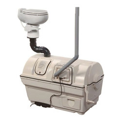 Sun-Mar - Sun-Mar Centrex 2000 Electric Low Flush Composting System - SUR033 - Shop for Toilet Hardware from Hayneedle.com! This composting system meets the standards of the National Sanitation Foundation Standard 41 testing.Additional FeaturesIncludes Sun-Mar 510 Pint Flush Composting ToiletIncludes a 4 bolt toilet flange for mountingComes on your choice of seat heightAvailable in your choice of colorHas a Sun-Mar 30 watt turbo fan2-inch vent stack removes evaporating liquidVent stack also removes odorsRequires a water hook-upSupplied with a 1-inch drain hose2-inch PVC thinwall vent pipeUses standard toilet paperComes with a limited 3-5 year warrantyGet everything you need to start recycling waste with the Sun-Mar Centrex 2000 Electric Low Flush Composting System. Complete with a composting system Sun-Mar 510 Pint Flush Composting Toilet and a toilet flange this system is rated continuously for four adults or families of six. This unit has a Sun-Mar 30 watt turbo fan and a 370 watt thermostatically controlled heater to turn waste into compost and a 2-inch vent stack for odorless operation. The 2000 Low Flush Composting System requires a water hook-up and comes with a limited three to five year warranty.Sun-Mar 510 Pint Flush Composting ToiletProvides the benefits of a flush toiletMinimizes the use of waterFor use with the Centrex seriesFoot pedal flush fills the bowl with waterBowl is sealed by ball valve and Teflon sealCan be flushed manually in the winter if necessaryFeatures a regular size toilet seatMeasures: 15.25W x 20.5D x 18.75H inchesSun-Mar 4 Bolt Toilet FlangeUsed for mounting composting toiletComes pre-drilled with 4 floor boltsKeeps you from having to modify a universal flangeSun-MarIn 1971 Hardy Sunberg developed the world's first self-contained composting toilet that could be put in a bathroom and would evaporate liquids and compost solids. Over the years he developed a rotating drum with three chambers that would become the foundation for today's toilets. To this day Sun-Mar remains the world leader in researching and developing composting toilets. From self-contained units to central units and even composting toilets that are specially made for RVs and boats Sun-Mar has over twenty models to choose from and each is made to fill a specific need. Sun-Mar ensures that each of their toilets take advantage of a using a drum to create compost through aeration and mixing. All Sun-Mar toilets are also certified by the National Sanitation Foundation.