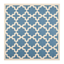 Safavieh - Courtyard Blue and Beige Square: 7 Ft. 10 In. x 7 Ft. 10 In. Rug - - Safavieh takes classic beauty outside of the home with the launch of their Courtyard Collection. Made in Turkey with enhanced polypropylene for extra durability these rugs are suitable for anywhere inside or outside of the house. To achieve more intricate and elaborate details in the designs Safavieh used a specially-developed sisal weave  - Pile Height: 0.25  - Construction: Machine Made  - Easy to Clean?Just sweep vacuum or rinse off with a garden hose. Safavieh - CY6913-243-8SQ