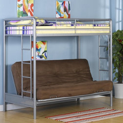 Dorel Home - DHP Barwick Twin over Futon Bunk Bed Multicolor - 3156096 - Shop for Bunk Beds from Hayneedle.com! The versatile DHP Barwick Twin over Futon Bunk Bed is suitable for sleeping lounging and so much more. This stylish and space-maximizing kids bed features an upper twin-size bunk and bottom futon that easily converts into a full-size sleeper. Designed with simple clean lines for a modern look this futon bunk bed has a sturdy metal frame protected by a silver powder-coat finish that blends with any decor. To ensure your child's safety this contemporary kids bunk bed features two built-in ladders and guard rails along the top bunk. Ideal for kids or teens this bunk bed solves cramped dorm room woes as well.About Dorel IndustriesFounded in 1962 Dorel Industries is a family of over 26 brands including bicycle brands Schwinn and Mongoose baby lines Safety 1st and Quinny as well as home furnishing brands Ameriwood and Altra Furniture. Their home furnishing division specializes in ready-to-assemble pieces including futons microwave stands ladders and more. Employing over 4 500 people in 17 countries and over four continents Dorel is renowned for their product diversity and exceptionally strong commitment to quality.