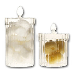 Scalloped Glass Storage Canisters - Delicate scalloped glass canisters are perfect for storing small bathroom items in a decorative way. Large (7 in H), Small (5 in H)
