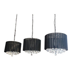 Set of 3 Crystal Chandelier with Large Black Shade & Balls - These beautiful fixtures are trimmed with Empress Crystal(TM). Item must be hardwired. Professional installation is recommended. Each item requires (3) 40 watt bulbs - not included
