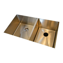 """Create Good - 1/2"""" Radius UltraClean Large Double Bowl Sink - Undermount - SS5DT - This double bowl undermount kitchen sink is the world's cleanest, winning first place at the National Kitchen and Bath Industry Show. The dirty seam that surrounds the drain has been eliminated creating a beautiful focal point in the sink. The sink is 10"""" deep with 1/2"""" radius corners. A sink with a perfect, sanitary drain."""