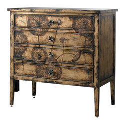Hooker Furniture - Cache Chest - Like leather and lace, this cache chest combines the feminine with the masculine. Solid hardwood construction equals a sturdy piece you can rely on, while the floral motive emblazoned on the front denotes a feminine sense of artistry. To add your own personal touch, it also comes with dual sets of hardware (decorative pulls or painted wooden knobs).