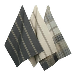 Tag Everyday - Checks & Stripes Dishtowels, Set of 3 - 100% cotton. Machine wash cold separately/tumble dry low. Includes one woven check and two woven stripe patterns.