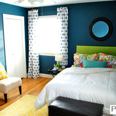 eclectic bedroom great color scheme