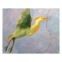 """Vivian Stearns-Kohler/Etoile Creations - """"Love Token"""" - Framed Oil Painting - This is a male cattle egret who gathers twigs and branches to present to his mate. The female then arranges them into a nest."""