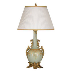 Cream Rapture - Celadon, Gold and Brass One Light Overture Lamp - - Hand crafted porcelain vase in soft celadon with highly detailed antiqued brass appointments and intricate gold decor. Features hand sewn soft empire shade in gilt rapture with side pleats and gold English braid. Bradburn Gallery - PV-63540
